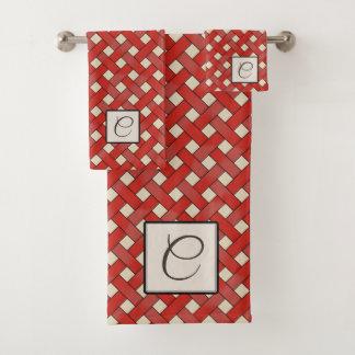 Red Woven Rattan on Custom Color with Monogram Bath Towel Set