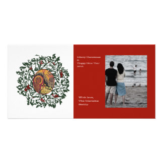 Red Wreath Photo Card Template