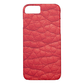 Red Wrinkled Faux Soft Leather iPhone 7 case