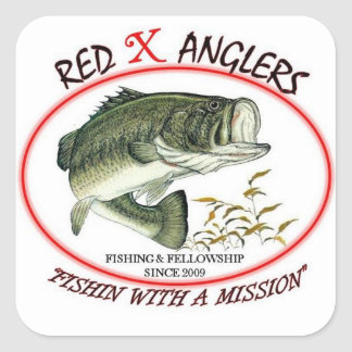 Red X Anglers LMB square sticker