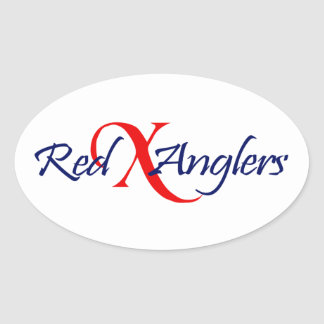 Red X Anglers Oval Sticker