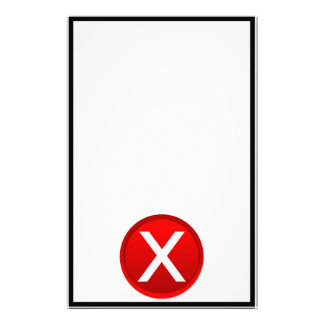Red X - No - Symbol Stationery Paper