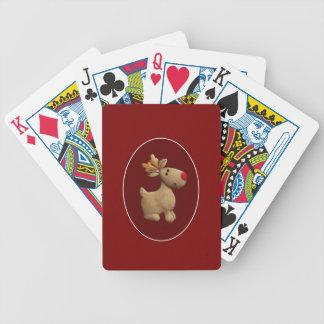 Red Xmas Reindeer Bicycle Playing Cards