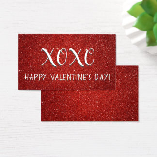 Red XOXO Glitter and Sparkle Valentine's Day Business Card
