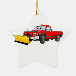 Red Y Pick Up Snow Plow Cartoon Christmas Ornament