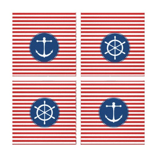 Red Yacht Club Pattern Canvas Print