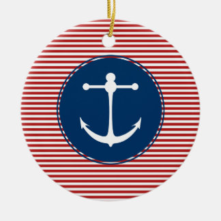 Red Yacht Club Pattern Christmas Ornament