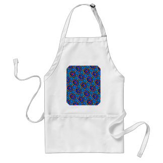 Red & Yellow Abstract Floral Design On Blue. Chic Apron