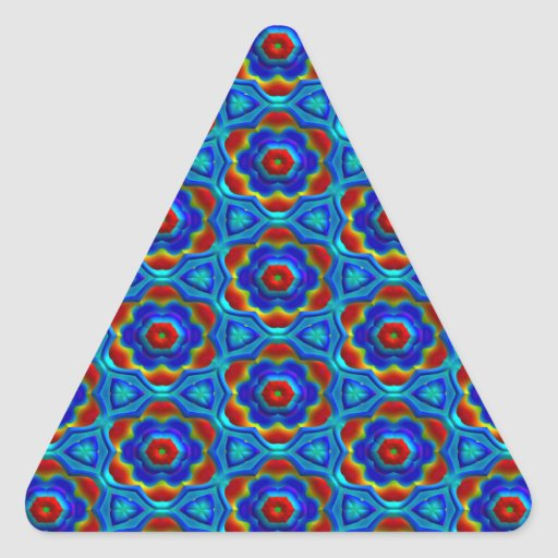 Red & Yellow Abstract Floral Design On Blue. Chic Triangle Sticker