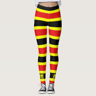Red, Yellow, and Black Coral Snake Stripe Leggings