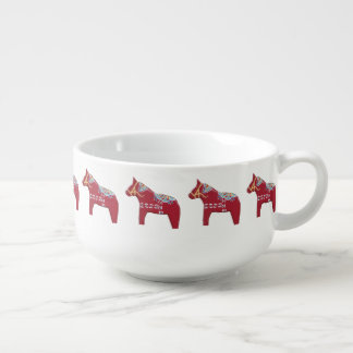 Red, Yellow and Blue Dala Horse Soup Mug