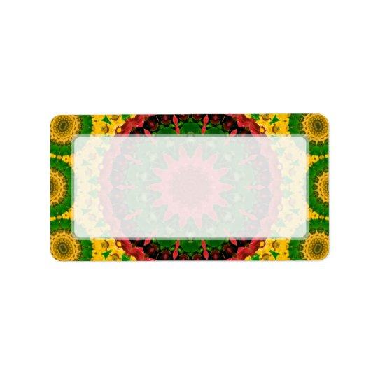 Red, Yellow and Green Kaleidoscope Mandala Label