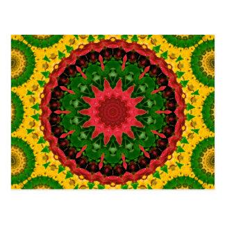 Red, Yellow and Green Kaleidoscope Mandala Postcard