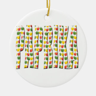 Red Yellow and green paprika patterns. Round Ceramic Decoration