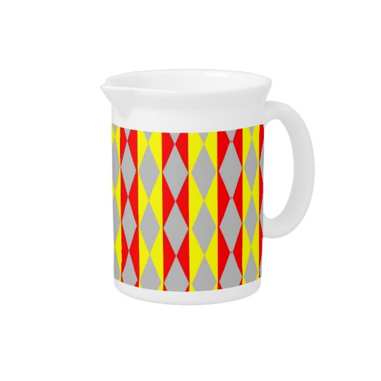 Red, Yellow And Grey Diamonds Pitcher