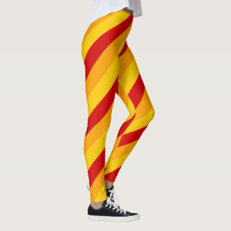 Red, Yellow and Orange Stripes Leggings