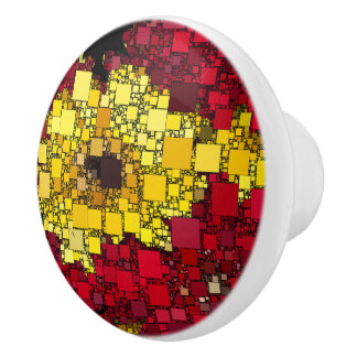 Red, Yellow, and Shades of Gold Mini Boxes Ceramic Knob