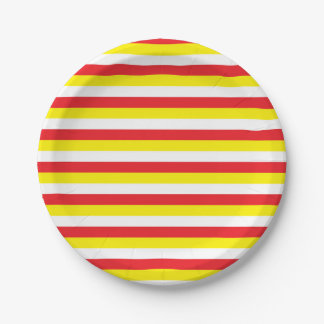 Red, Yellow and White Stripes 7 Inch Paper Plate