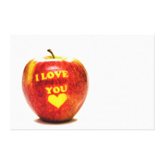 Red Yellow Apple Fruit I Love You Canvas Canvas Print