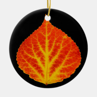 Red & Yellow Aspen Leaf #10 Christmas Ornament