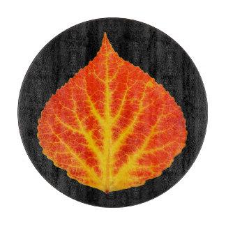 Red & Yellow Aspen Leaf #10 Cutting Board