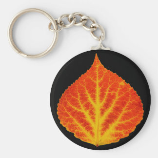 Red & Yellow Aspen Leaf #10 Key Ring