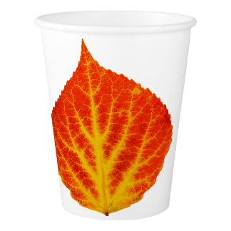 Red & Yellow Aspen Leaf #10 Paper Cup