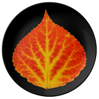 Red & Yellow Aspen Leaf #10 Plate