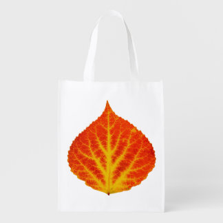 Red & Yellow Aspen Leaf #10 Reusable Grocery Bag