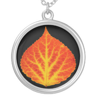 Red & Yellow Aspen Leaf #10 Silver Plated Necklace