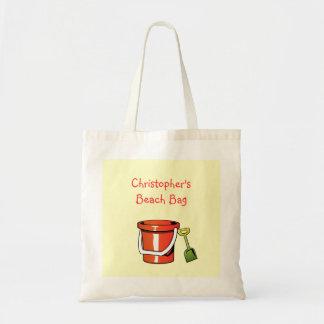 Red Yellow Beach Bucket Pail Custom Child's Name Bag