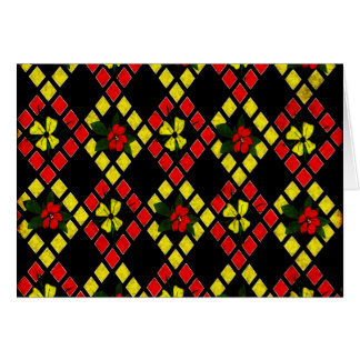 Red, Yellow, Black Art Weave Greeting Card