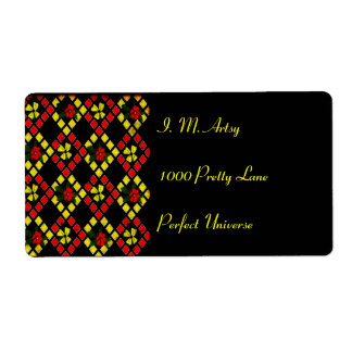 Red, Yellow, Black Art Weave Shipping Label
