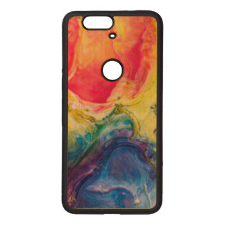 Red Yellow Blue Abstract Painting Wood Nexus 6P Case