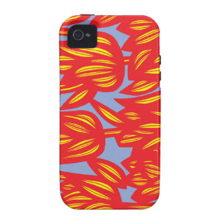Red, Yellow, Blue, Flowers, Floral, Botanical, Nat iPhone 4/4S Covers