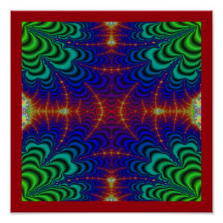 Red Yellow Blue Green Wormhole Fractal Poster