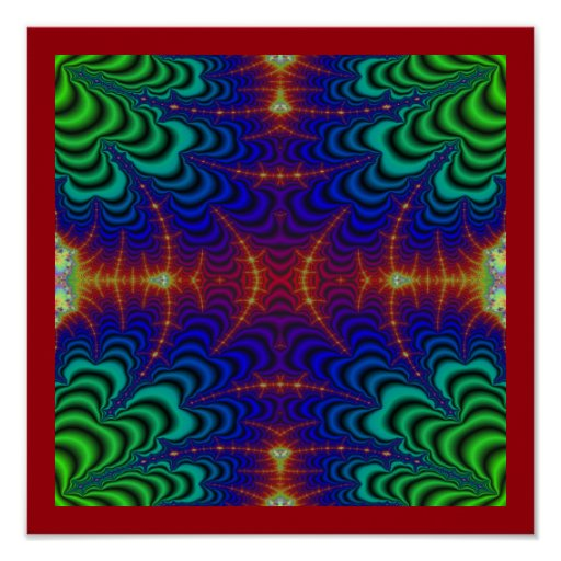 Red Yellow Blue Green Wormhole Fractal Print