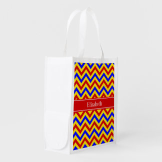 Red, Yellow, Blue LG Chevron Red Name Monogram Reusable Grocery Bag
