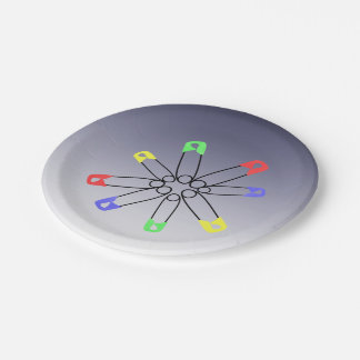 Red Yellow Blue Safety Pin Rainbow Solidarity Paper Plate