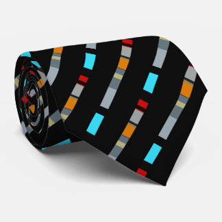 Red Yellow Blue Silver Multicolor Pattern Tie