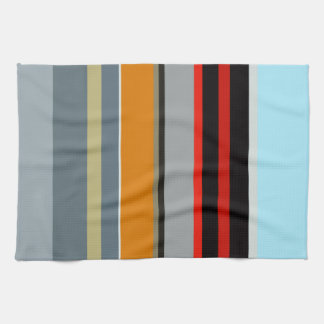 Red Yellow Blue Silver Multicolor Striped Pattern Tea Towel