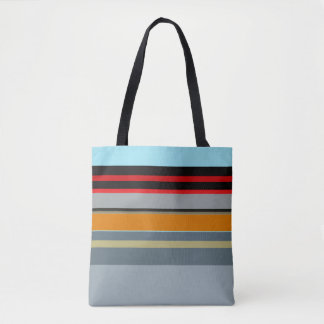 Red Yellow Blue Silver Multicolor Striped Pattern Tote Bag