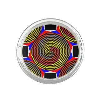 Red Yellow Blue Spiral Rings