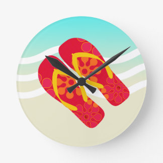 Red Yellow Blue Summer Beach Theme Flip Flops Round Clock
