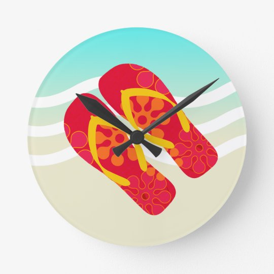 Red Yellow Blue Summer Beach Theme Flip Flops