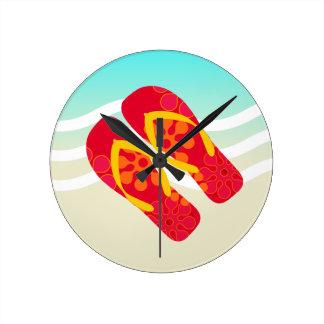 Red Yellow Blue Summer Beach Theme Flip Flops Wallclocks