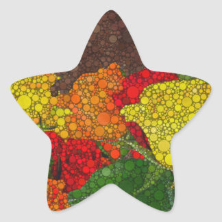 Red Yellow Brown Flower Abstract Star Sticker