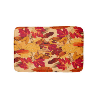 Red Yellow Brown Orange Autumn Foliage Bath Mat