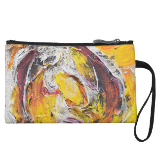 Red Yellow Custom Painted Mini Clutch Purse