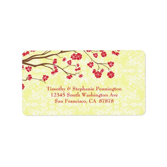 Red + yellow floral damask wedding address label